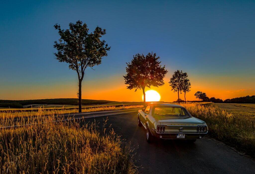 sundown with a pony car