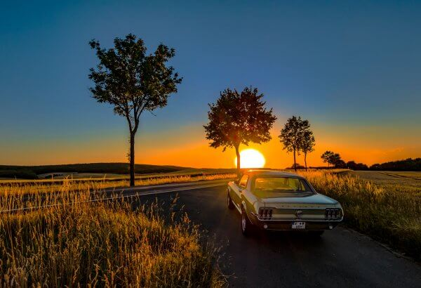 sundown with a pony car