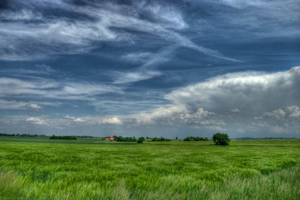 Blauer Himmel grünes Feld HDR